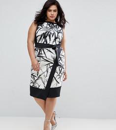 Платье-футляр с принтом и запахом на юбке Coast Plus Mary - Мульти