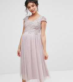 Платье с тюлевой юбкой и ажурным лифом Little Mistress Maternity - Фиолетовый