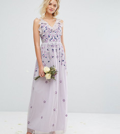 Платье макси в винтажном стиле с вышивкой и отделкой Amelia Rose - Фиолетовый
