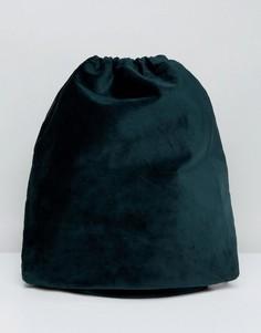 Зеленый бархатный рюкзак с затягивающимся шнурком ASOS - Зеленый