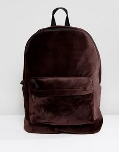 Коричневый бархатный рюкзак ASOS - Коричневый