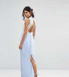 Контрастное кружевное платье макси с открытой спиной Elise Ryan - Фиолетовый
