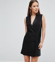 Платье в стиле смокинга без рукавов ASOS PETITE - Черный