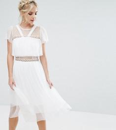Платье миди с рюшами и отделкой True Decadence Petite - Белый