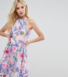 Платье для выпускного с цветочным принтом и высокой горловиной Paper Dolls Petite - Мульти