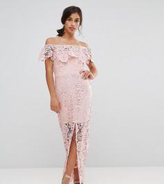 Кружевное платье макси с открытыми плечами и рюшами Paper Dolls Petite - Розовый