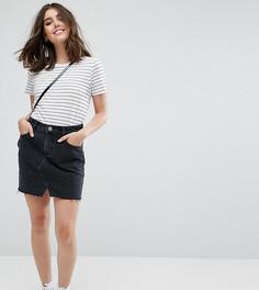 Черная выбеленная джинсовая мини‑юбка ASOS PETITE - Черный