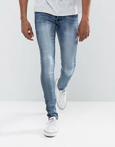 Умеренно выбеленные синие джинсы скинни из эластичного денима Solid - Синий !Solid