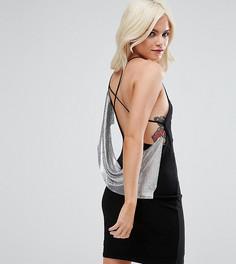 Платье мини с асимметричным кольчужным дизайном ASOS PETITE - Черный