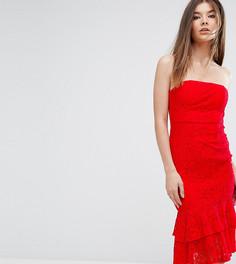 Платье-бандо миди с двойной оборкой Love Triangle - Красный
