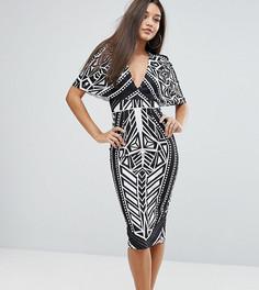 Монохромное платье миди с кейпом Ginger Fizz - Мульти