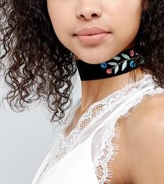 Бархатное ожерелье-чокер с вышивкой ASOS - Мульти