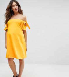 Платье с открытыми плечами и завязками на рукавах ASOS Maternity - Желтый