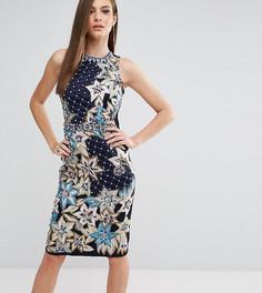 Платье-футляр со стеганой отделкой и вышивкой A Star Is Born - Темно-синий