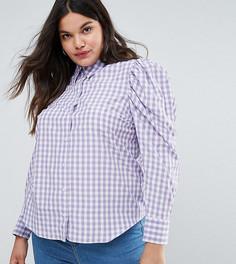Рубашка в клетку с пышными рукавами ASOS CURVE - Мульти