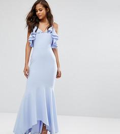 Платье макси асимметричной длины с рюшами John Zack Tall - Синий