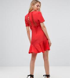Чайное платье со шнуровкой ASOS TALL - Красный