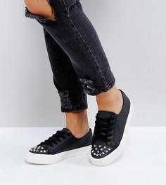Кроссовки для широкой стопы на шнуровке с заклепками ASOS DANGEROUS - Черный