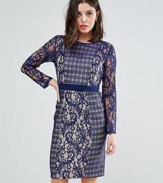 Платье с длинными рукавами и контрастной кружевной отделкой Little Mistress Petite - Темно-синий