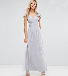 Платье макси с открытыми плечами и отделкой Little Mistress Tall - Серый