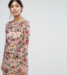 Платье мини для выпускного с цветочной вышивкой Frock and Frill - Розовый