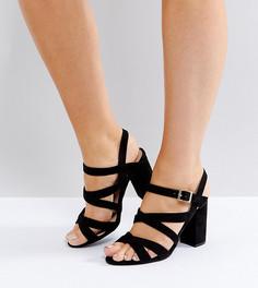 Босоножки на блочном каблуке для широкой стопы с ремешками New Look - Черный