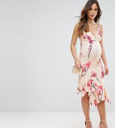 Платье миди с баской и цветочным принтом ASOS Maternity - Мульти