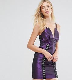 Платье мини в стиле 80-х с эффектом металлик и крючками эксклюзивно для ASOS TALL - Фиолетовый