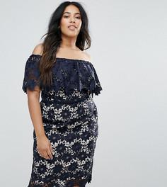 Кружевное платье с открытыми плечами Coast Plus Patience - Темно-синий