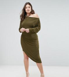 Асимметричное платье с запахом Club L Plus - Зеленый