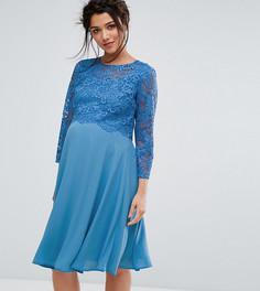 Свободное платье миди с кружевной накладкой и рукавами 3/4 Queen Bee - Синий