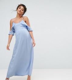 Чайное платье миди с открытыми плечами Queen Bee - Синий