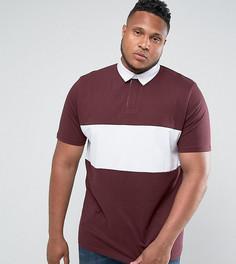 Длинная бордовая футболка-поло ASOS PLUS - Красный