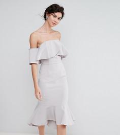 Платье-бандо миди с крупными оборками True Decadence Tall - Серый