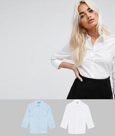 2 рубашки из эластичного хлопка с рукавами 3/4 ASOS PETITE - Скидка 12 - Мульти