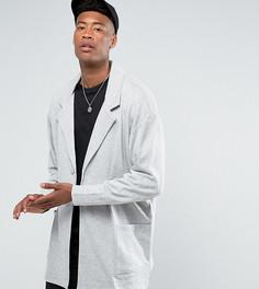 Серое супердлинное трикотажное пальто свободного кроя ASOS TALL - Серый