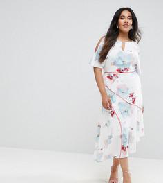 Платье с цветочным принтом и вырезами на плечах Coast Plus La Hune - Мульти
