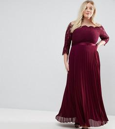Платье макси с кружевным топом и плиссированной юбкой Coast Plus Imi - Красный