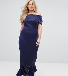 Платье макси с кружевной баской по краю ASOS CURVE - Темно-синий