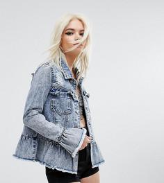 Потертая джинсовая куртка с оборками Urban Bliss Petite - Синий