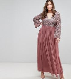 Платье макси с длинными рукавами и V-образным вырезом Maya Plus - Фиолетовый