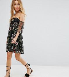 Платье с открытыми плечами и цветочной вышивкой Parisian Petite - Черный