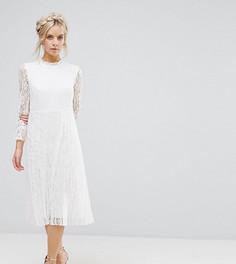 Кружевное приталенное платье с высоким воротом Little Mistress Petite - Кремовый