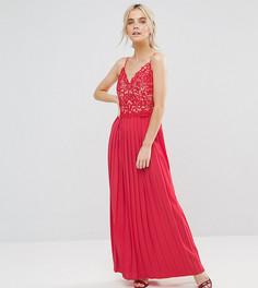 Платье макси с кружевным верхом и плиссировкой Little Mistress Petite - Красный