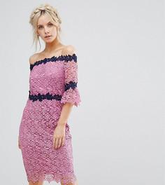 Кружевное платье-футляр со спущенными плечами и контрастной отделкой Paper Dolls Petite - Фиолетовый