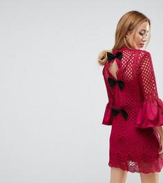 Платье мини А-силуэта с бантом и кружевной отделкой True Decadence Petite - Розовый