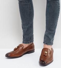 Светло-коричневые кожаные лоферы для широкой стопы с золотистыми кисточками ASOS - Рыжий