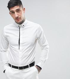 Приталенная рубашка с принтом на воротнике Noose & Monkey - Белый