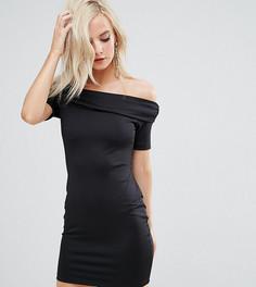 Сверхмягкое облегающее платье мини с открытыми плечами ASOS PETITE - Черный