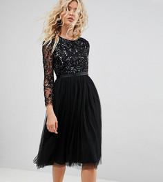 Платье миди с длинными рукавами и отделкой Needle & Thread - Черный